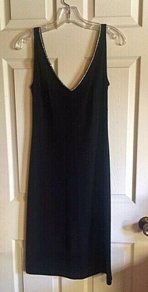 Vintage Betsey Johnson Evening Wear Black Dress with Rhinestones sz Medium