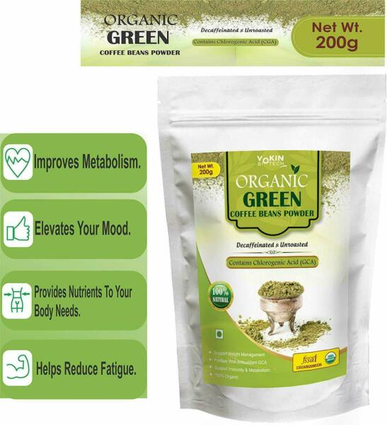 Natural Organic Green Coffee Beans Powder for Weight Management 200gm US