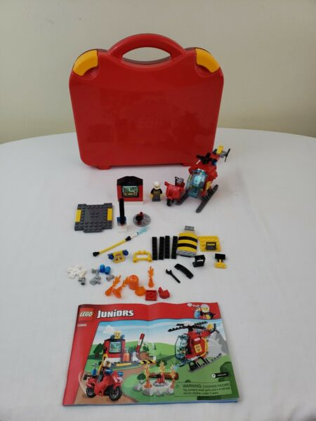 Lego 10685 Juniors Toy Fire Set Helicopter Motorcycle Figures 100% Complete