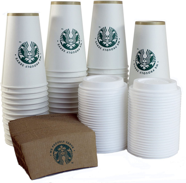 Starbucks Disposable Cups Hot Coffee Party Sleeves Lid Set Vending Tumbler 50 ct