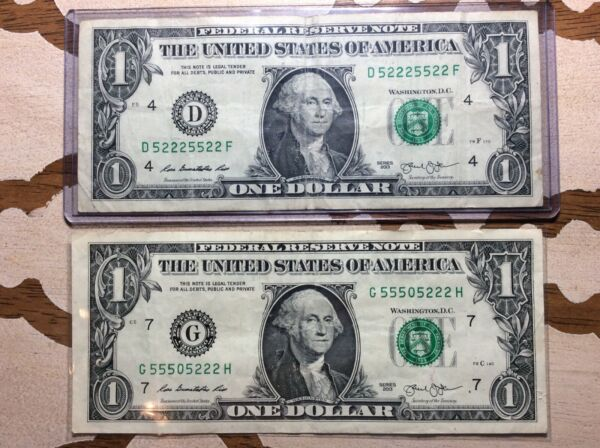 2 $1 One Dollar Bill Federal Reserve Fancy Serial Number Notes Binary Trinary $15.99