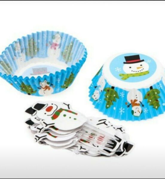 ☃️ 48 Piece Christmas Snowman Cupcake Liners w Decorative Picks Ship discount