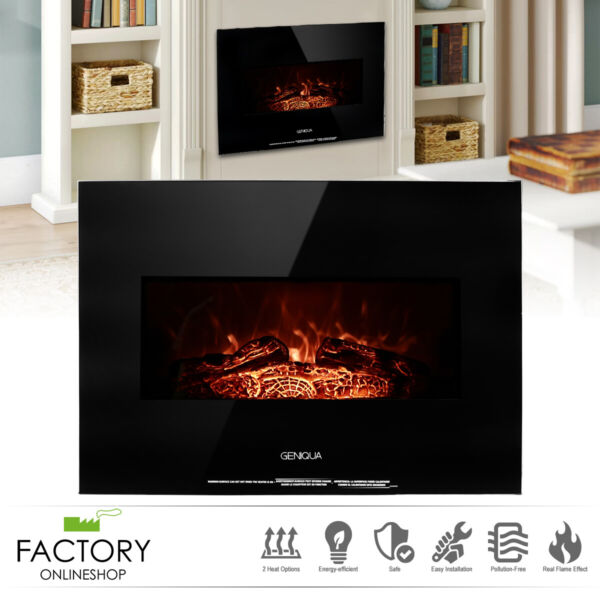 26quot; Heater Wall Mount 1400W Electric Fireplace Heat Log LED Back Flame Indoor