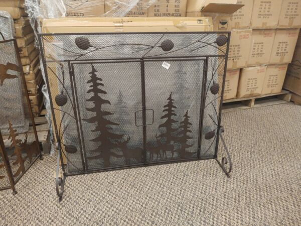 Rustic Cabin All Metal 38quot; W X 31quot; T 1pc Fireplace Screen w Deer amp; Mountain