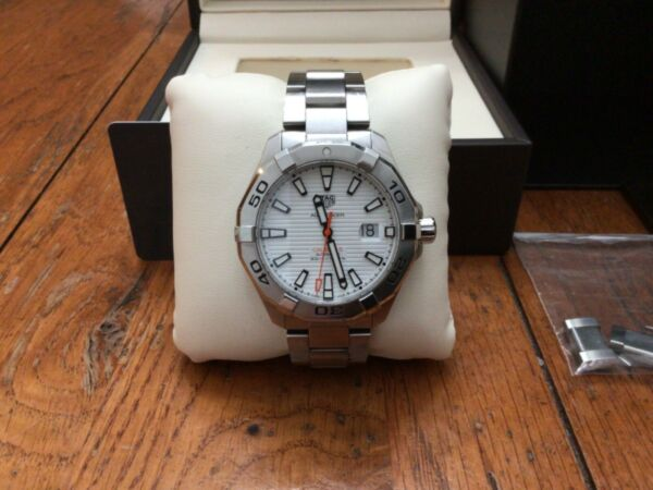 TAG HEUER AQUARACER WHITE DIAL CALIBRE 5 43MM AUTOMATIC 300M DIVER BOXES PAPERS