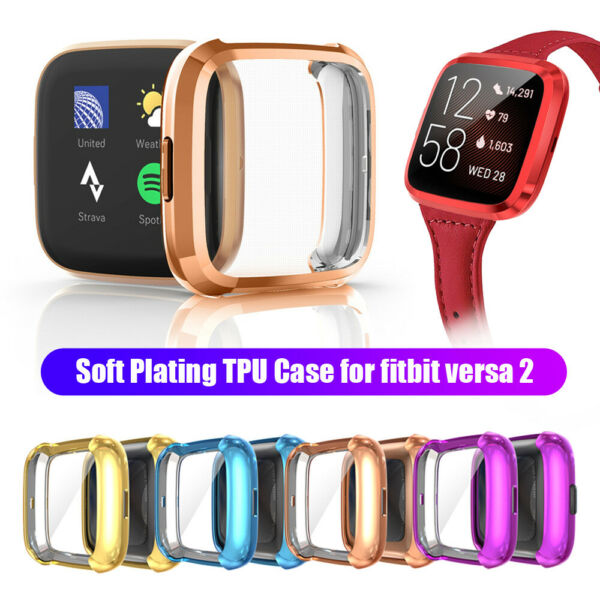 Luxury for Fitbit Versa 2 Plating TPU Watch Case Full Cover Screen Protectors $2.52