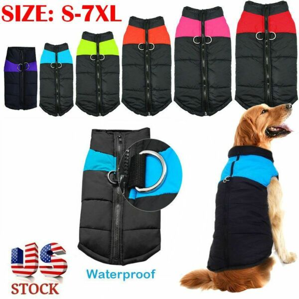 Pet Vest Jacket Warm Puppy Dog Waterproof Clothes Small Large Winter Padded Coat $8.29