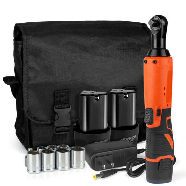 12V Electric Cordless Ratchet 3 8quot;Right Angle Wrench Impact Power Tool 2 Battery $49.98