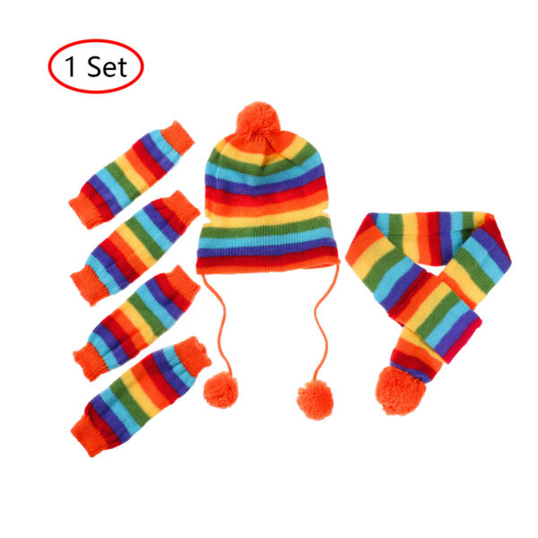 Christmas Cat Dog Puppy Costumes Winter Hat Knit Scarf Leg Warmers Pet Clothes $10.75