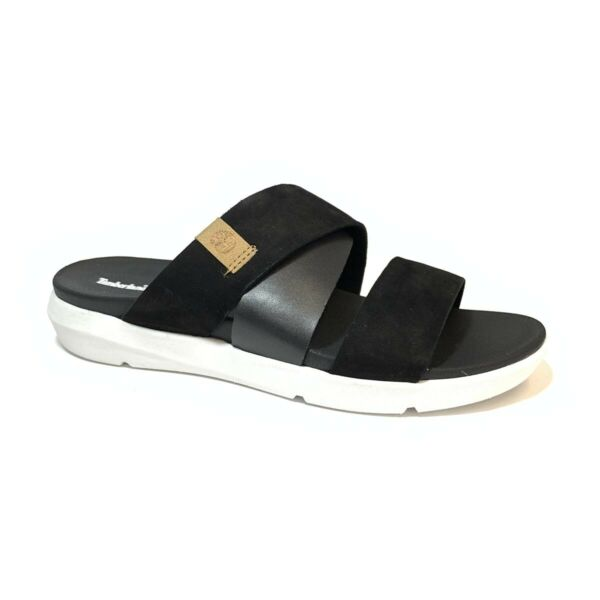 Timberland Women#x27;s Wilesport Black Leather Slip On Sandals A2AH7 $49.99