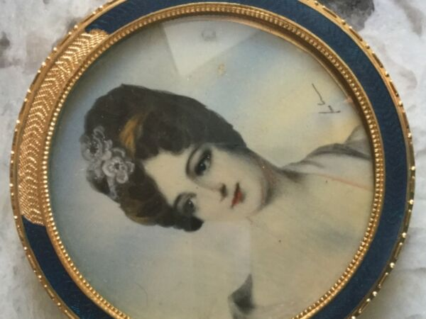 Antique Signed Victorian Lady Miniature Hand Painted Original Painting