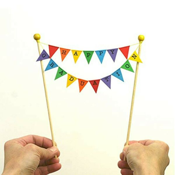 amazing buntings Happy Graduation Bunting Cake Topper Rainbow Fully Assembled...