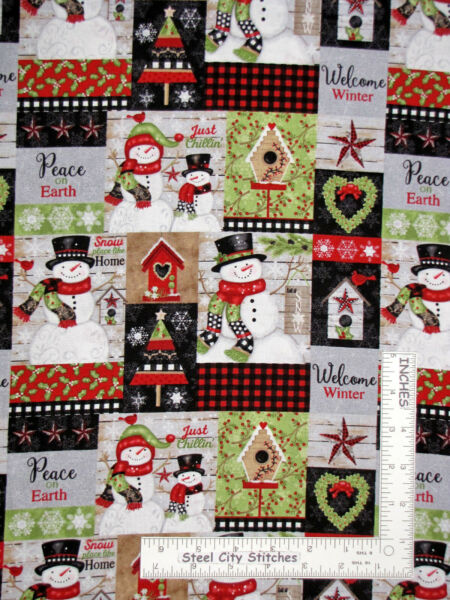 Christmas Snowman Collage Cotton Fabric Studio E Snow Place Like Home By Yard