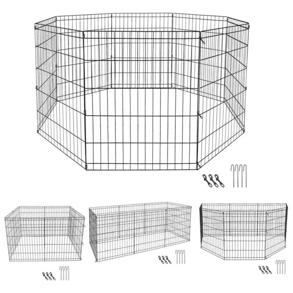 8 Panels Tall Dog Playpen Large Crate Fence Pet Play Pen Exercise Cage 30 Inch