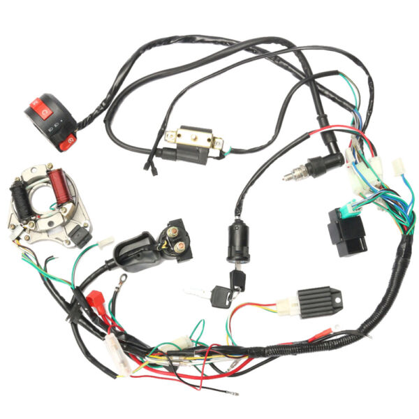Electric Wiring Harness Wire Loom CDI Stator Kit for 50 70CC 90CC 110CC ATV QUAD $43.99