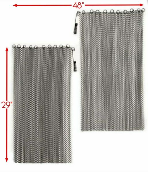 Justesen Fireplace Stainless Steel Mesh Replacement Curtain Screen 29quot; x 48quot;