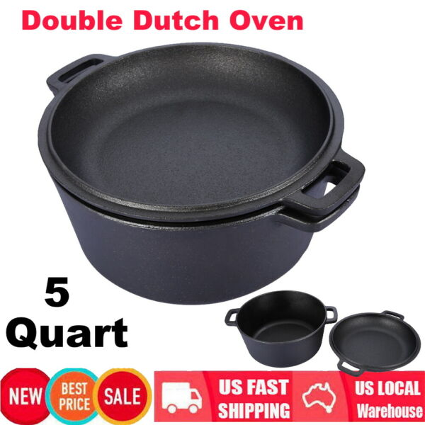 2 In1 Cast Iron Double Dutch Oven 5 Quart Pre Seasoned Cooking Po Kitchen Cooker