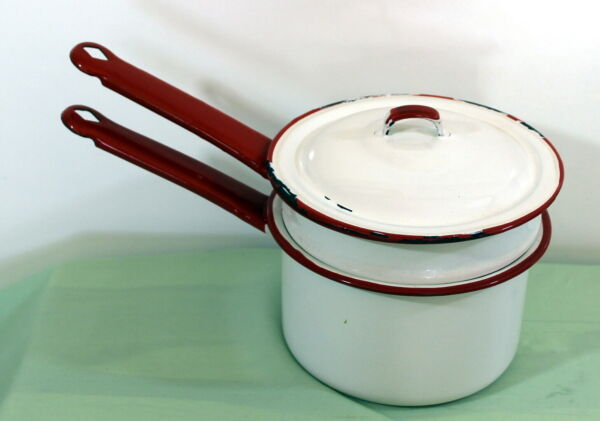 Vintage Enamelware Double Boiler White amp; trimmed in Red with Lid Graniteware $29.99
