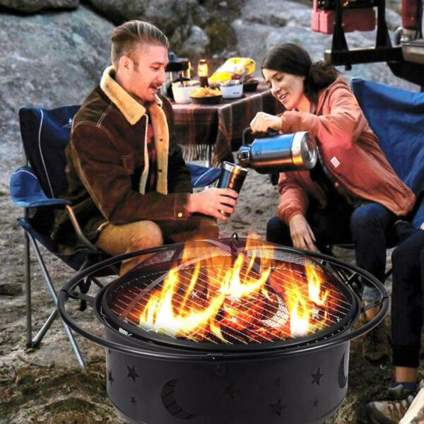 30quot; Outdoor Fire Pit Backyard Steel Fireplace Wood Burning Heater Bowl Stove