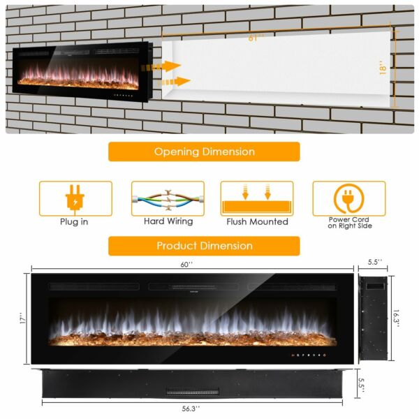60quot; Electric Fireplace Recessed or Wall Mounted Electric Heater Multicolor Flame