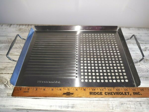 KitchenAid Stainless Grill Topper Grilling Grate 15.5quot; x 11.5quot; w handles