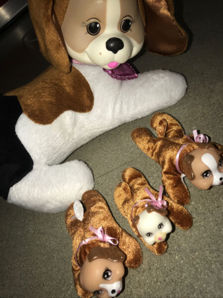 2016 Puppy Surprise Misty Beagle Plush Dog With 3 Babies Puppies White Brown $35.00