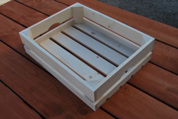 Wooden Crates Set of 3 40x30x10cm Made of Natural Wood for Fruits or Veg