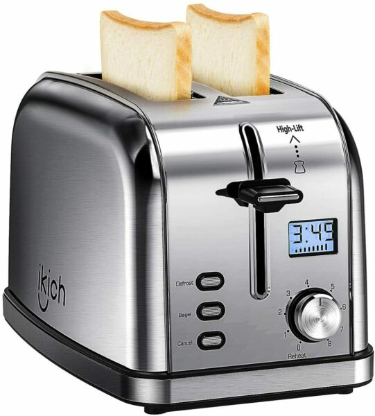 iKich 2 Slice Toaster Stainless Steel Upgraded LCD Timer Display Bagel Toaster