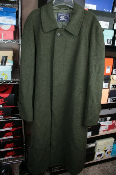 Vintage Burberry Wool Trench Coat Overcoat Olive Green $215.00