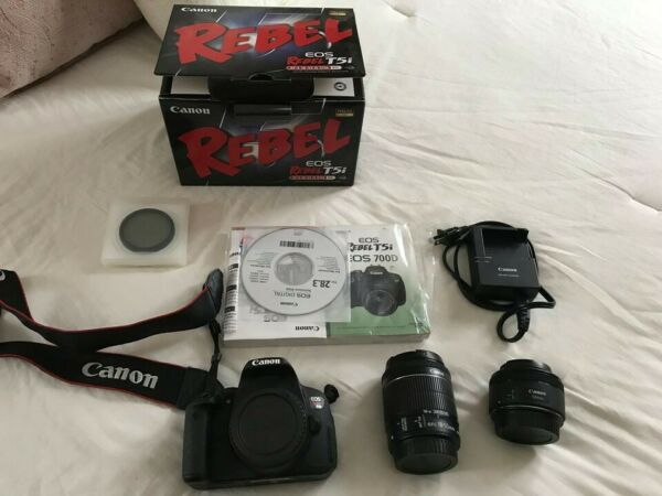 Canon EOS Rebel T5i w 18 55 kit lens 50mm 1.8 great condition original box $500.00