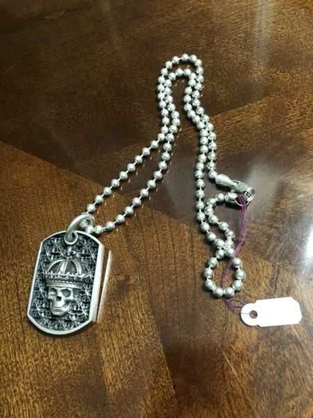 KING BABY STUDIO .925 Silver SKULL DOG TAG Celtic Cross Ball Chain necklace $499.00