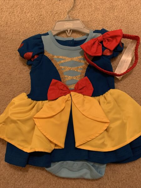 Disney Baby Costume Dress Snow White Bodysuit Headband Sz 9 12 Months