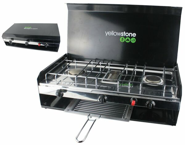 Yellowstone Camping Double Gas Burner Stove with Grill and Lid