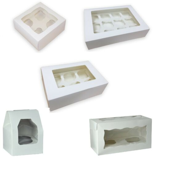 Single 2 4 6 12 hole White Cupcake Boxes