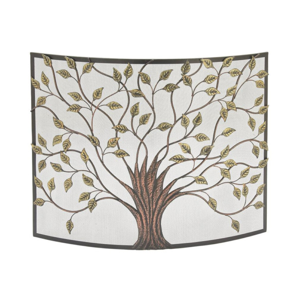 Rustic 1Panel Fireplace Screen Tree Leaf Cut Outs Withstands Heat Decorative