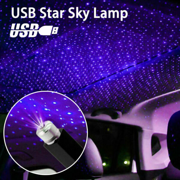 USB Car Interior Accessories Atmosphere Star Sky Lamp Ambient Night Light Blue $4.73