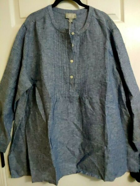Ryllace NWT Everyday Tunic 100% Linen Pleat Front Top Plus 24W Blue Marbled