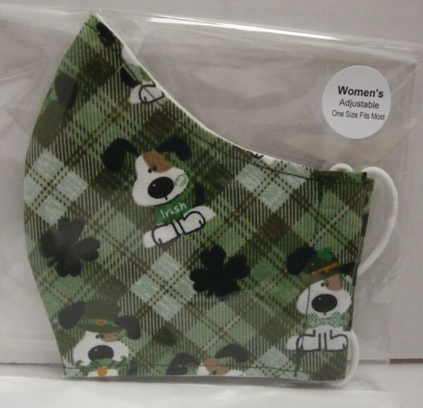 Handmade Cloth Face Mask PUPPY DOG ST PATRICK DAY SHAMROCK Cotton Reusable Women $8.99