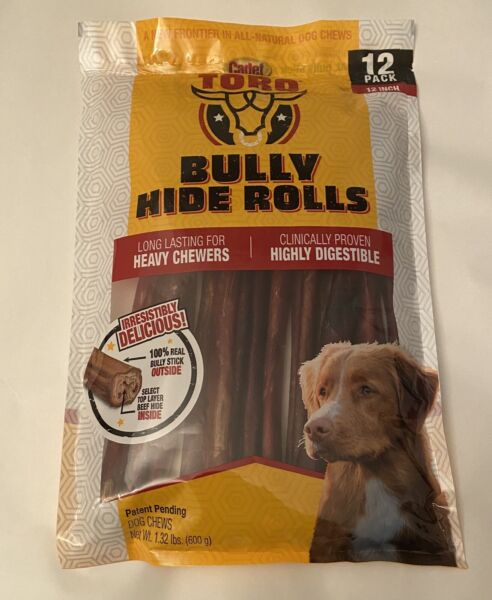 "New Cadet 12x12"" Long Lasting Bully Hide Rolls Dog Treats Free Shipping"