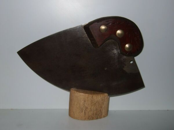 Alaskan Antique Handsaw Ulu Knife Steller#x27;s sea Cow Base 10 inch Cutting Edge