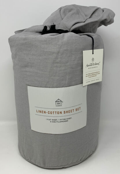Hearth amp; Hand with Magnolia Linen Cotton 4PC Sheet Set Gray CKing B TO