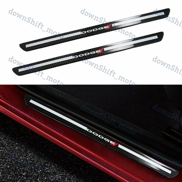 For Dodge Carbon Fiber Car Door Welcome Plate Sill Scuff Cover Decal Sticker X2 $18.99