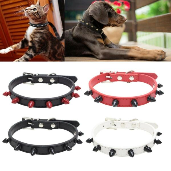 Spiked Dog Collar Pet Leather Collars Puppy Collar protect $7.86