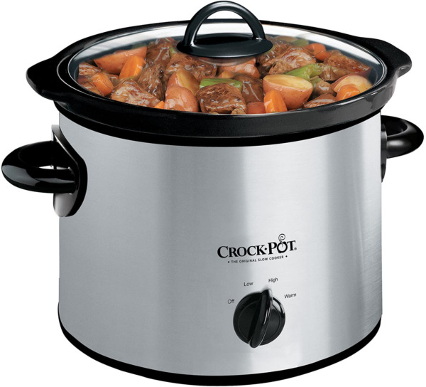 Crock Pot 3 Quart Round Manual Slow Cooker Stainless Steel and Black SCR300 S