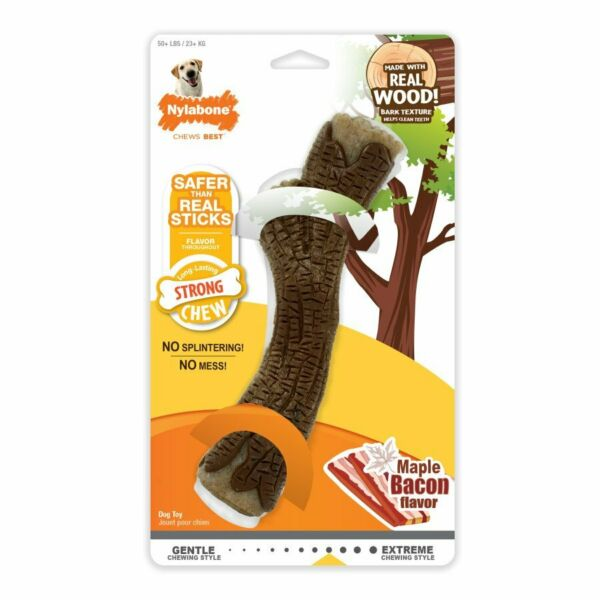 Nylabone Real Wood Stick Strong Dog Stick Chew Toy Maple Bacon Flavor... $18.99