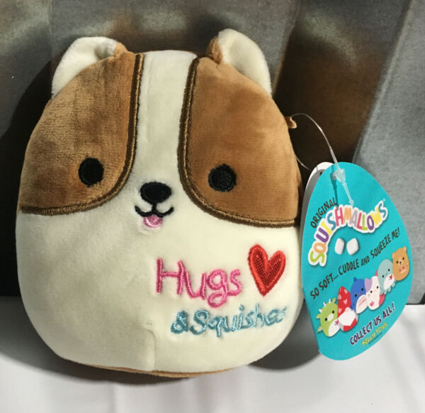 NEW 2021 Squishmallows 5quot; Reginald Corgi Dog Valentines Day Plush Hearts CUTE $10.99