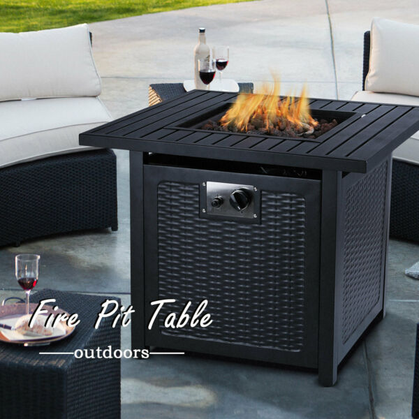 28#x27;#x27;Steel Propane Gas Fire Pit Table 50000 BTU Square Firepit Camping Fireplace