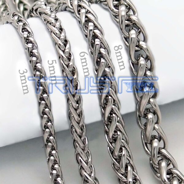 Men Women Stainless Steel Necklace Wheat Chain Necklace 20quot; 30quot; 3 8mm Silver