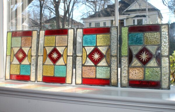 Lot of 4 Stained Glass Art Windows 9quot; x7quot; 1930 New Orleans home Ex Mnt Condition