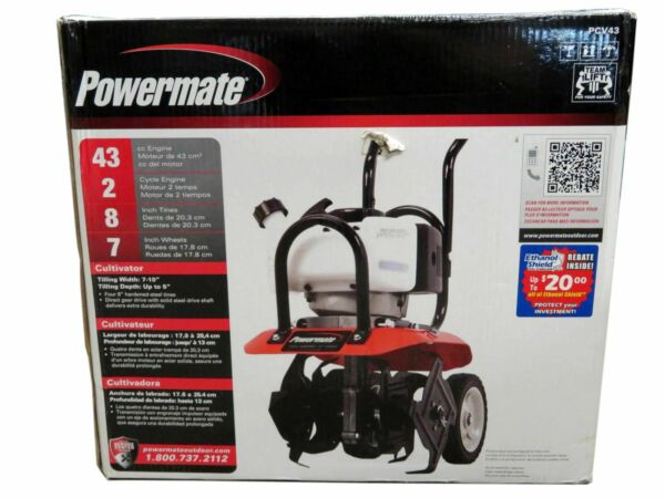 """Powermate PCV43 Cultivator 10"""" 43cc Gas 2 Cycle Adjustable Tilling Fold Handle"""